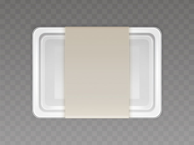 Vector 3d realistic plastic container for food, products with paper cover Free Vector