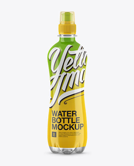 500ml Clear PET Bottle With Sport Cap Mockup