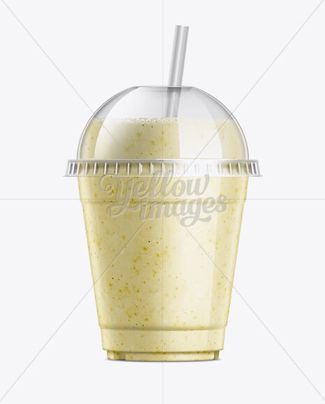Banana Milkshake Cup with Straw Mockup