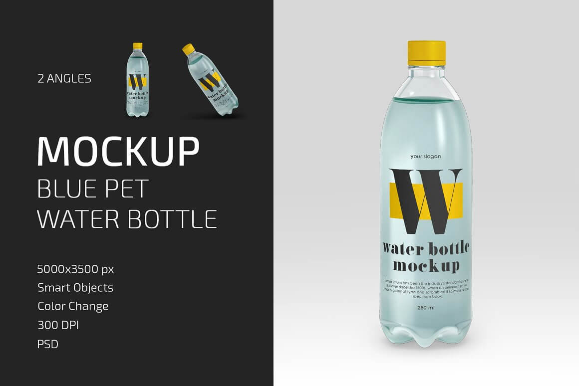 Blue PET Water Bottle Mockup Set