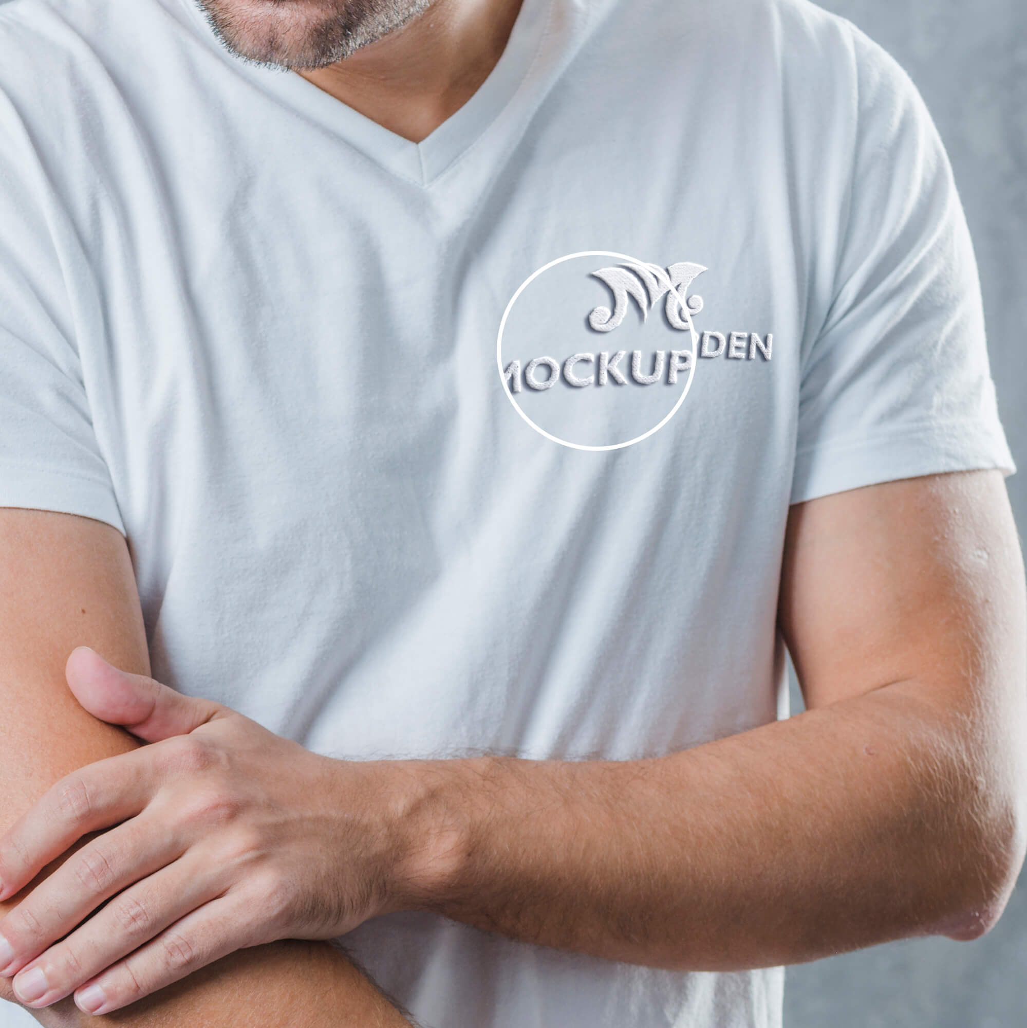 Close UP Of a Free Embroidered T Shirt Mockup PSD Template