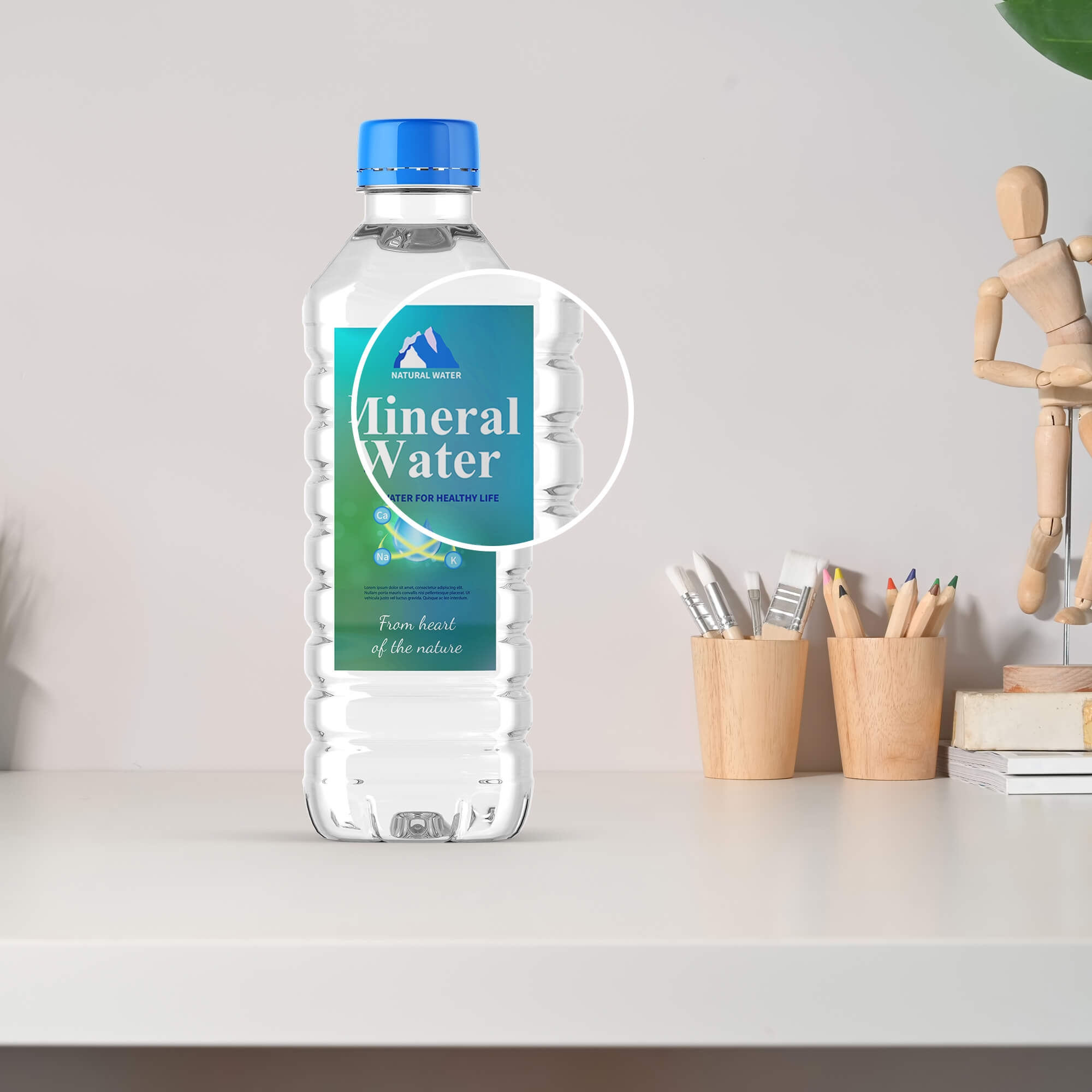 Close Up OF a Free Mineral Water Bottle Mockup PSD Template