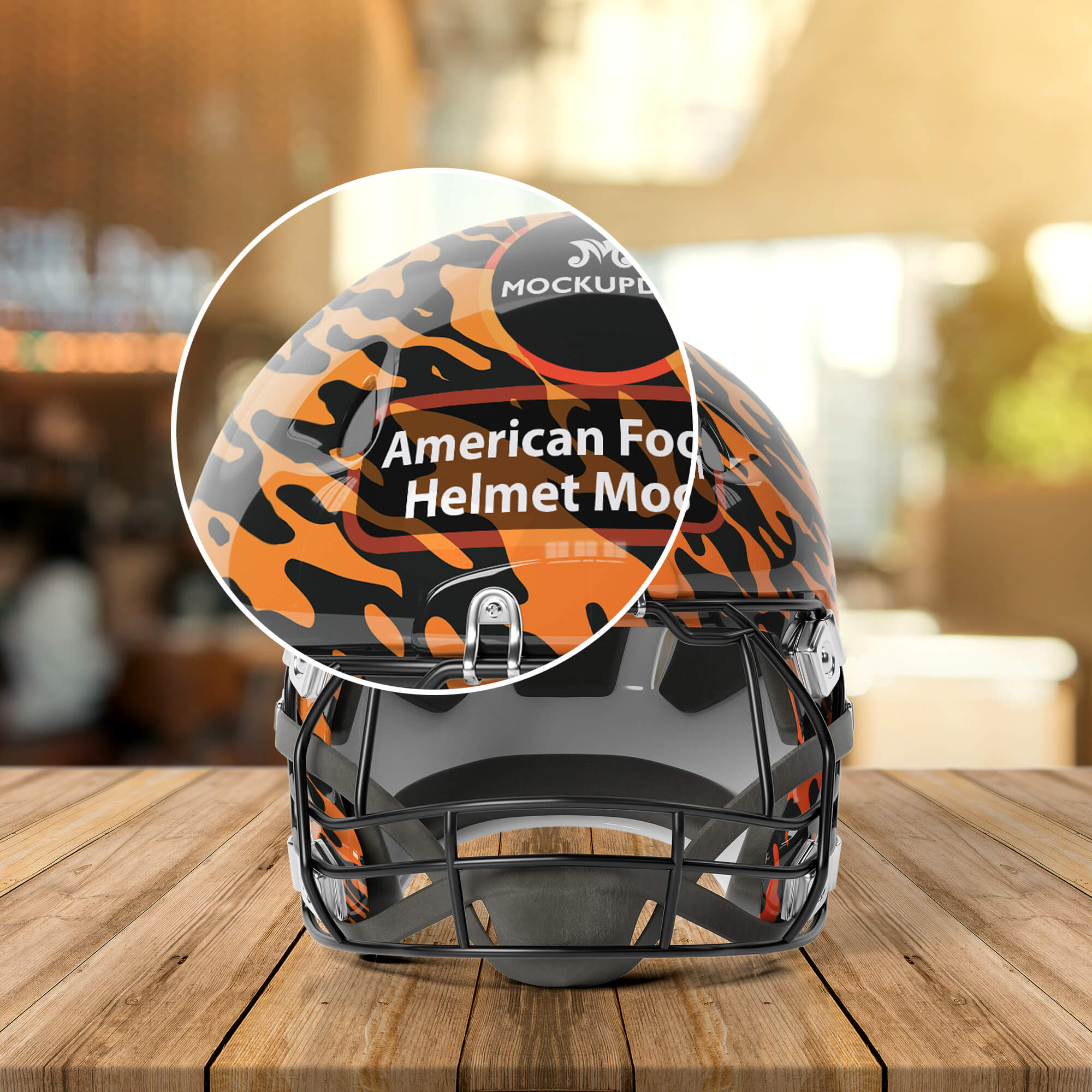 Close Up Of a Free American Football Helmet Mockup PSD Template