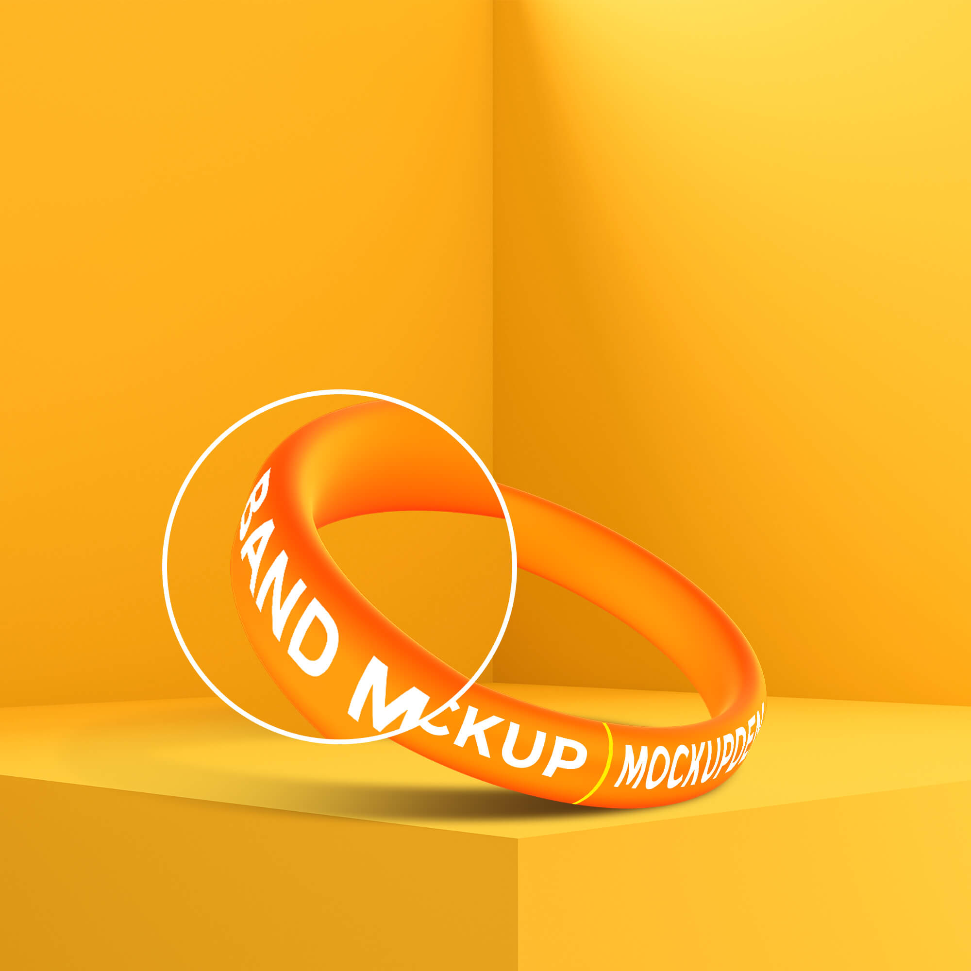 Close Up Of a Free Band Mockup PSD Template