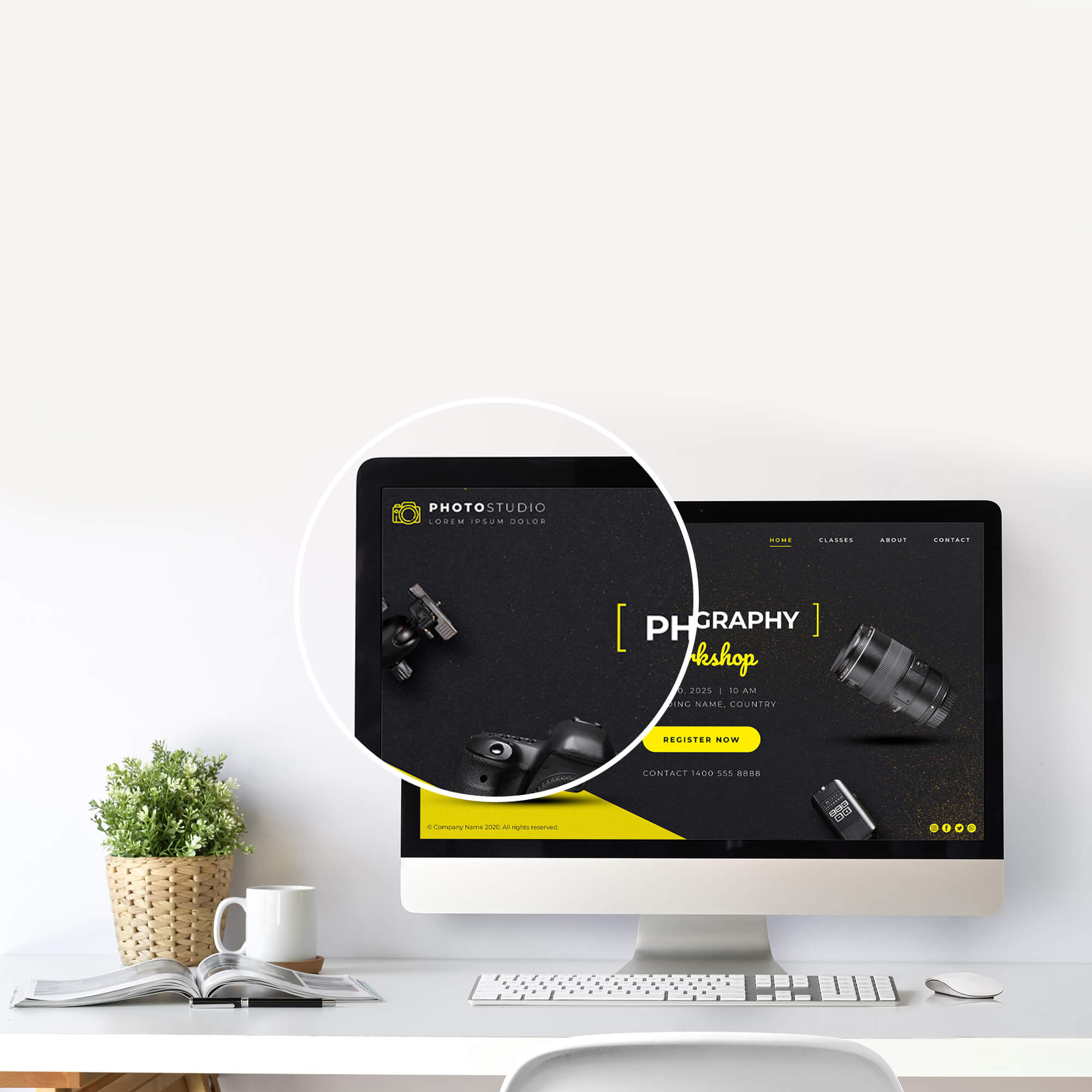 Close Up Of a Free Computer Screen Mockup PSD Template (5)
