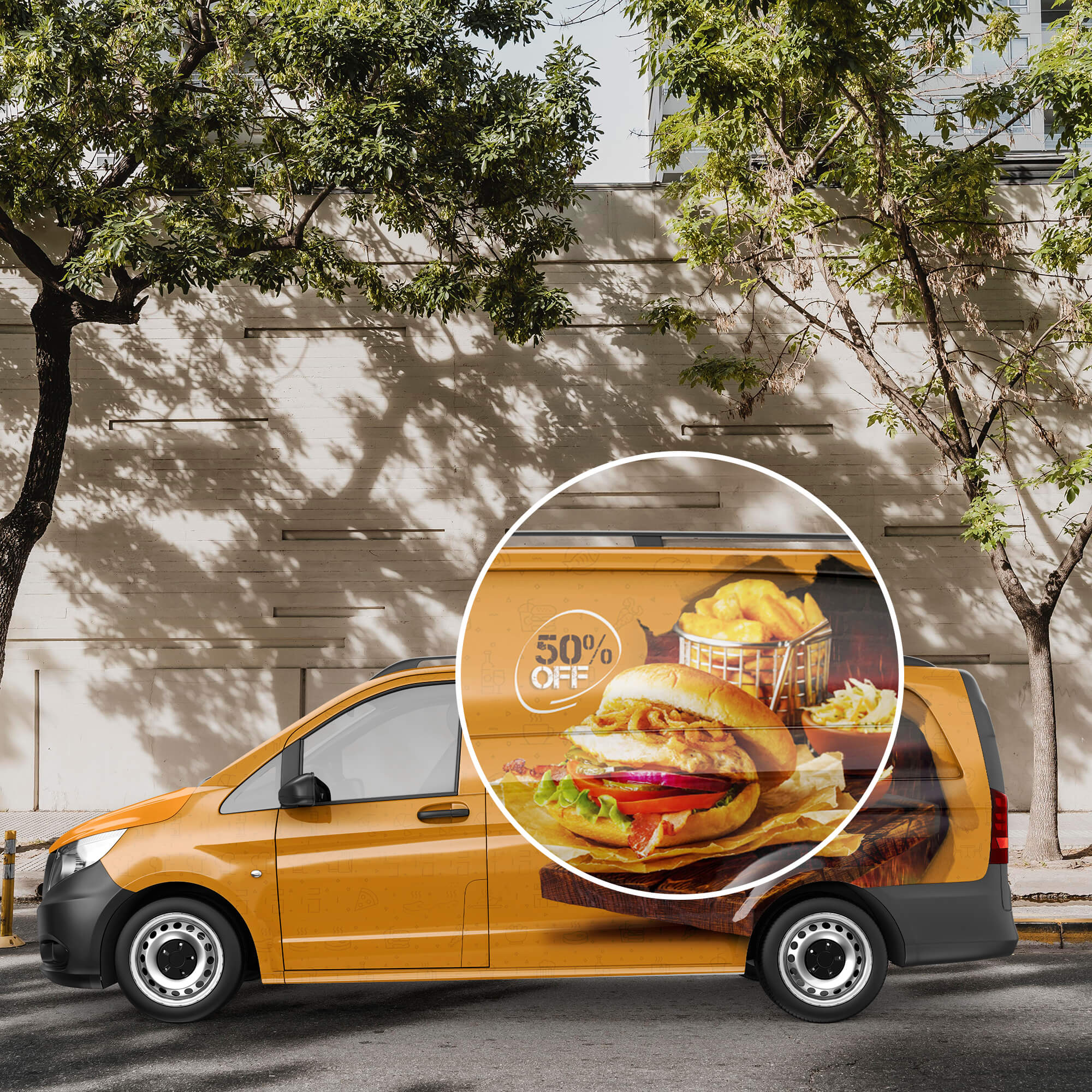 Close Up Of a Free Delivery Van Mockup PSD Template
