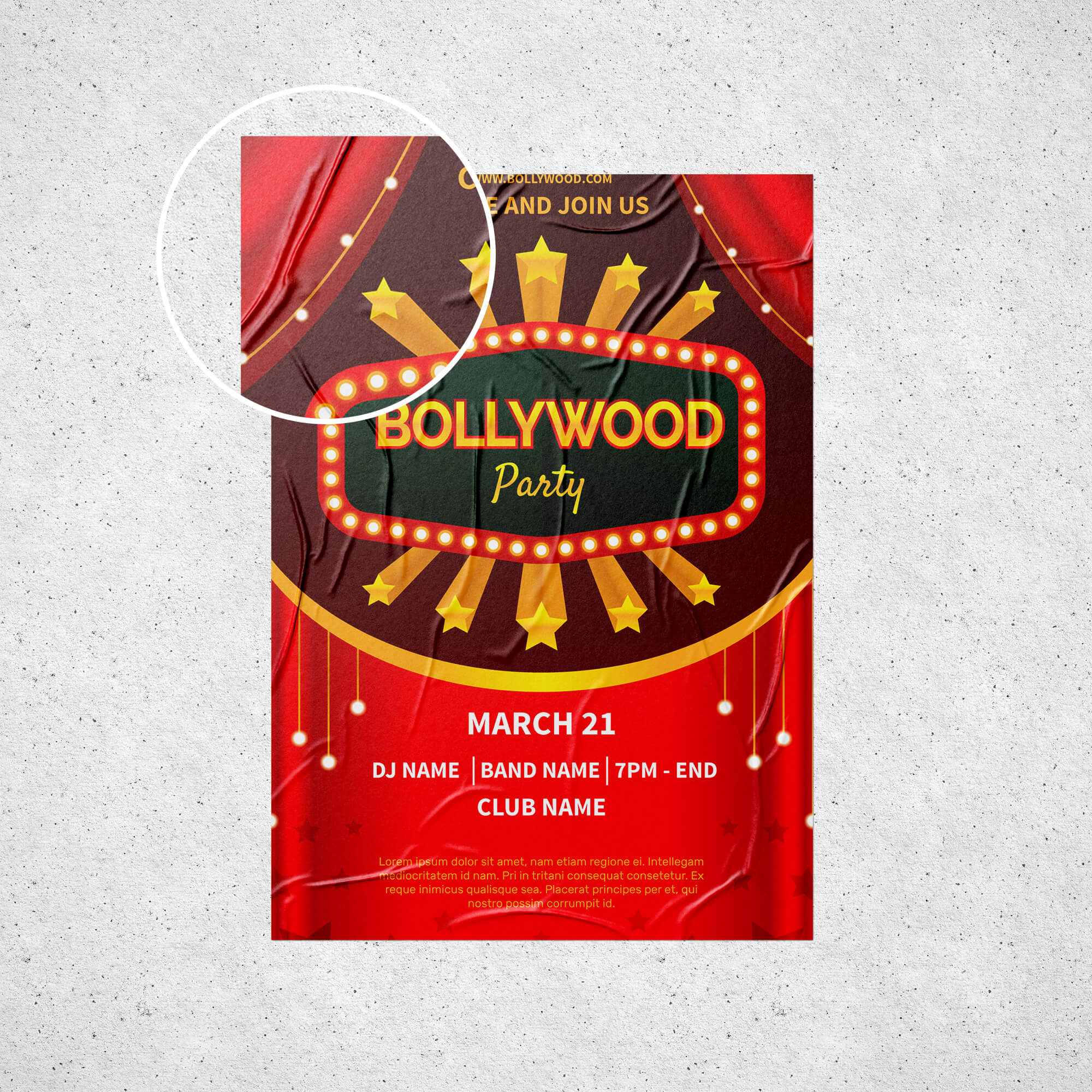 Close Up Of a Free Film Poster Mockup PSD Template