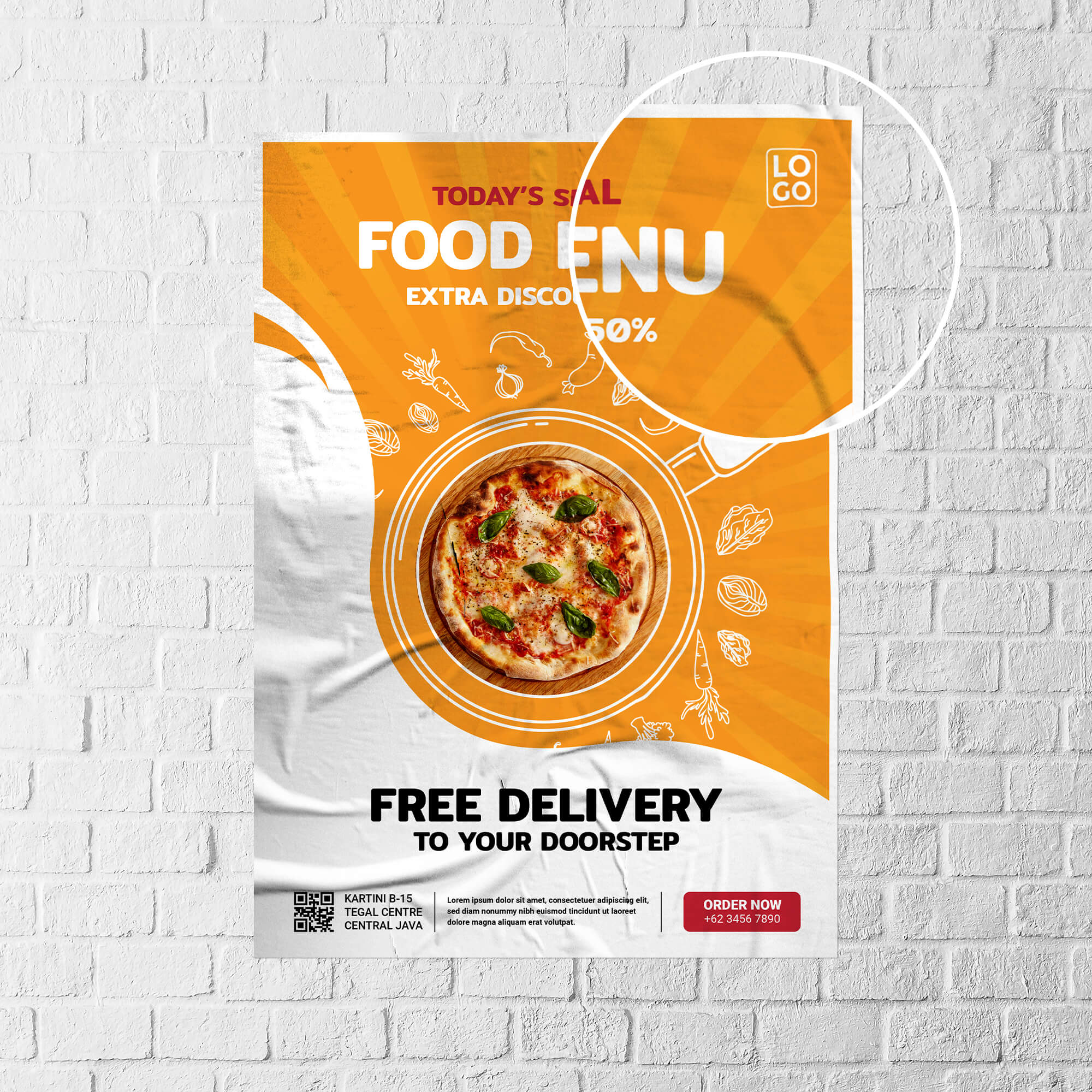 Close Up Of a Free Glued Paper Mockup PSD Template