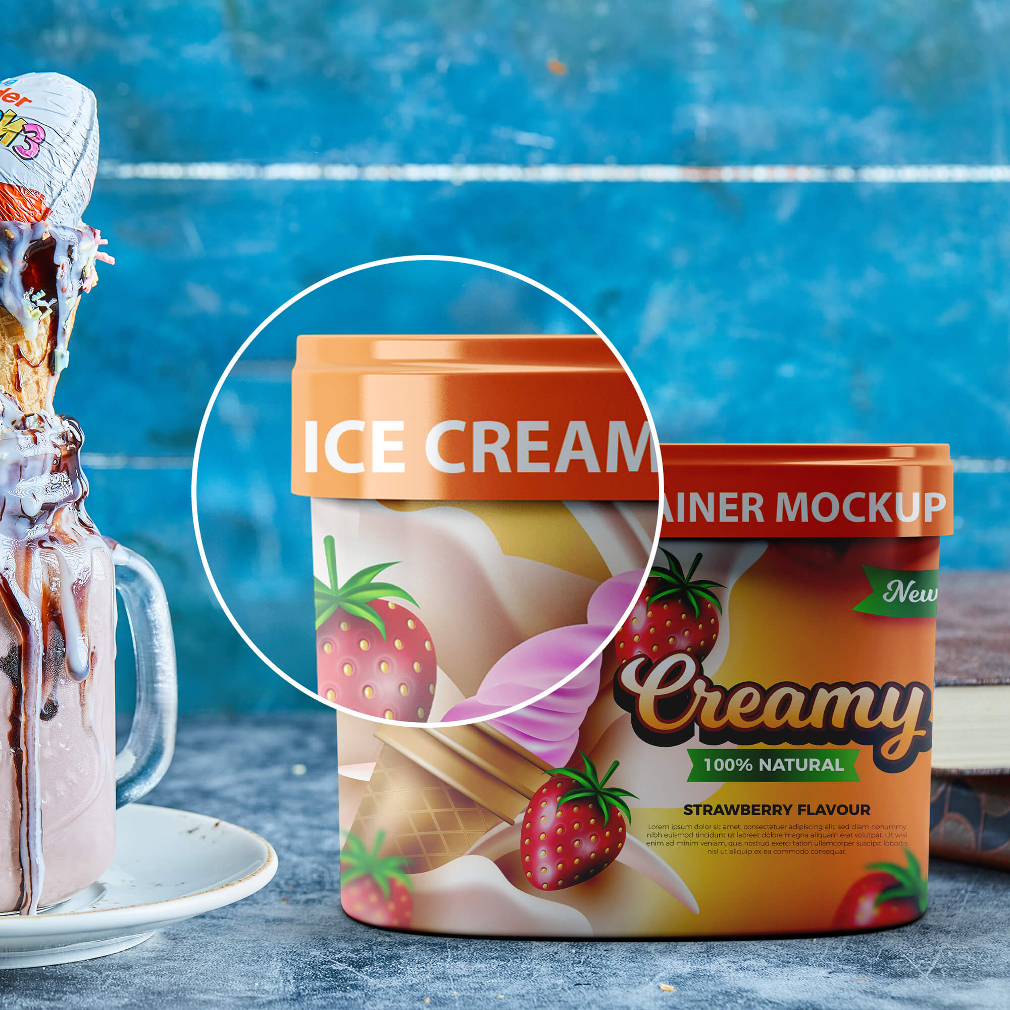 Close Up Of a Free Ice Cream Container Mockup PSD Template