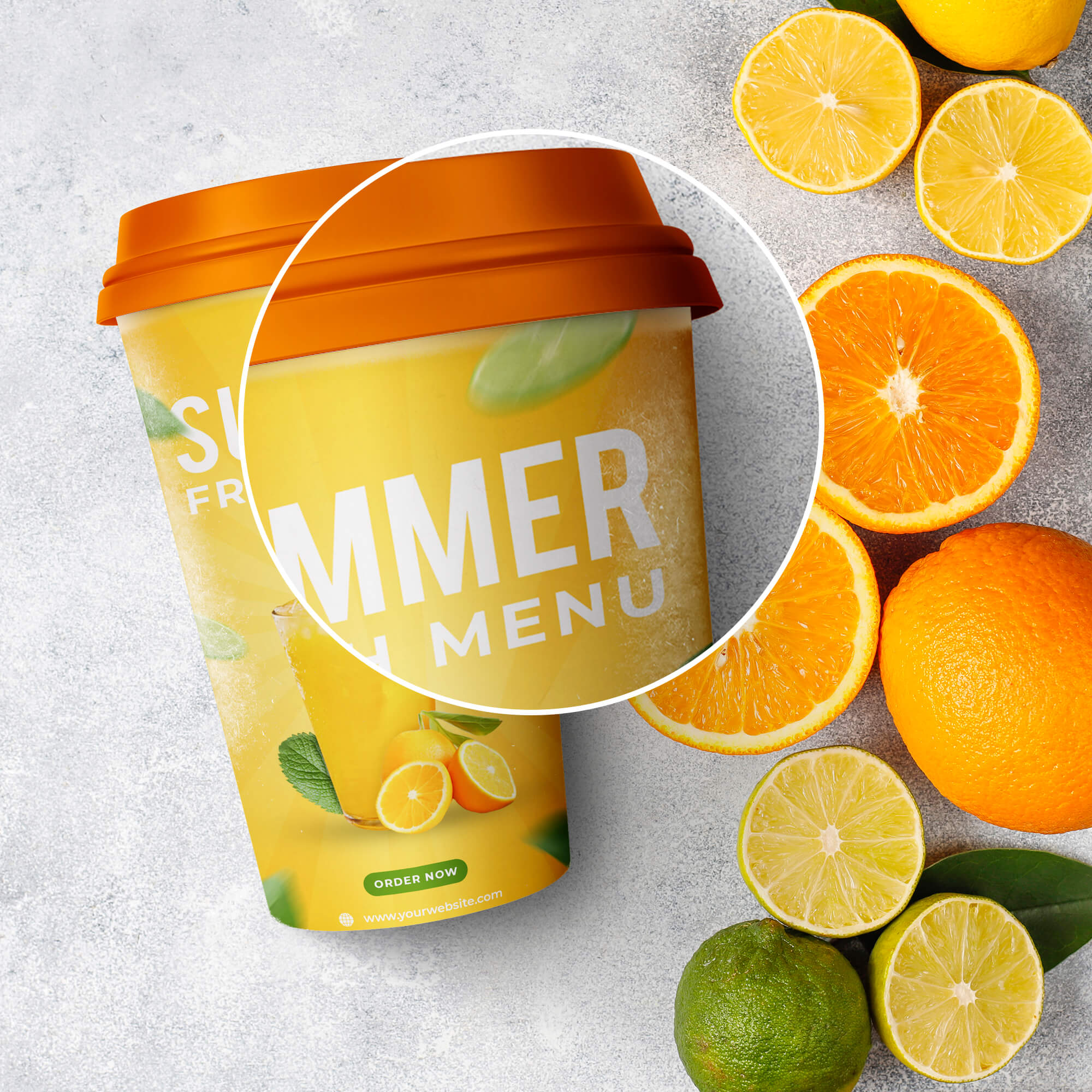 Close Up Of a Free Juice Cup Mockup PSD Template