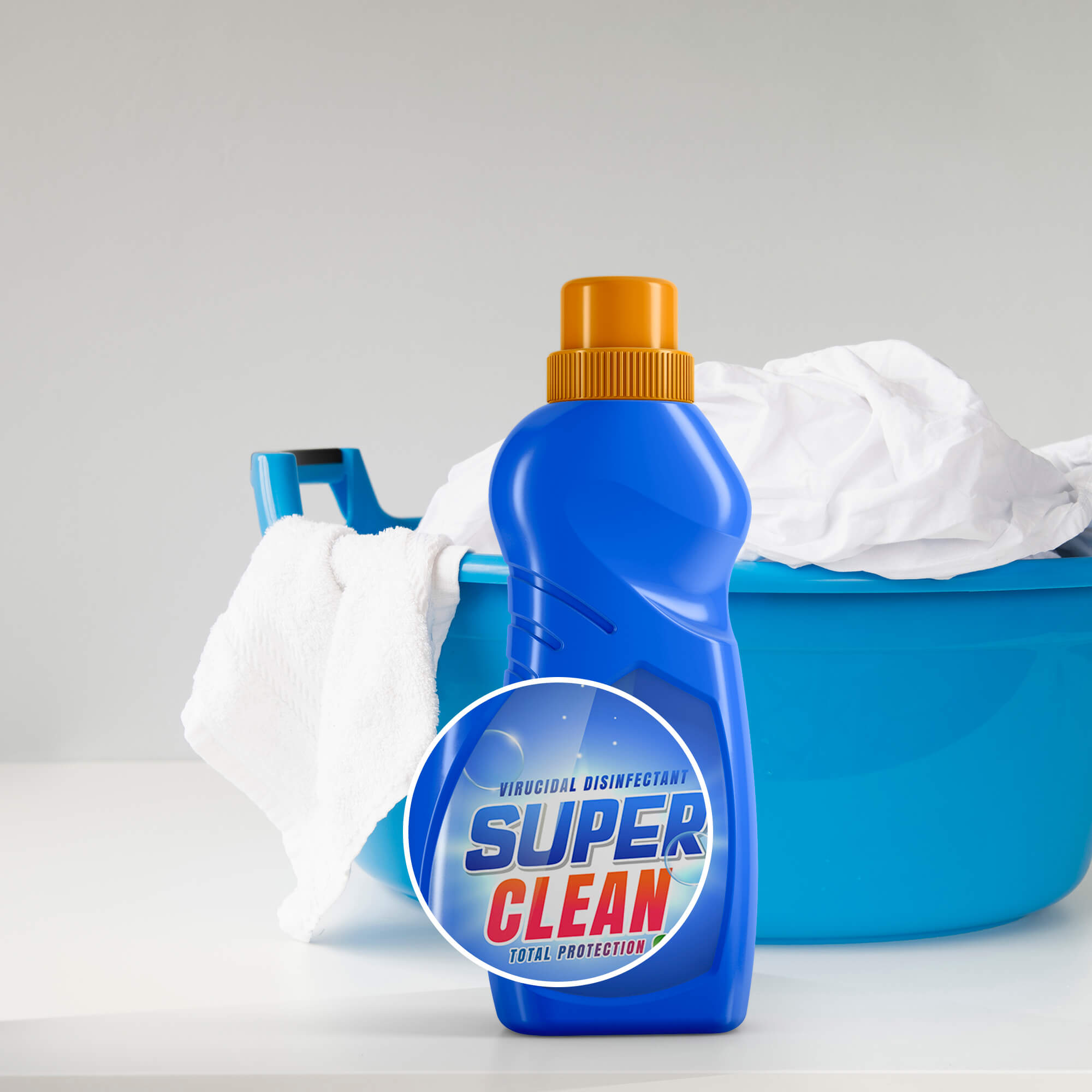 Close Up Of a Free Liquid Detergent Bottle Mockup PSD Template