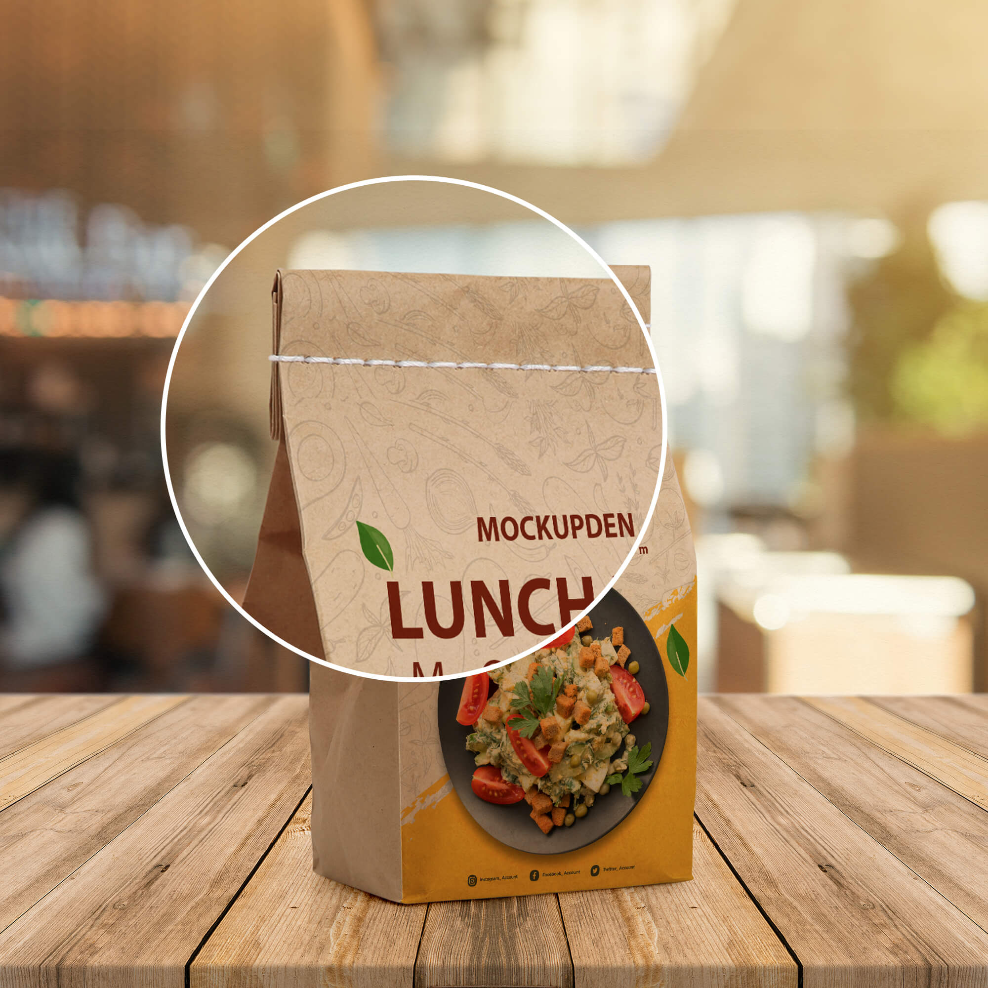 Close Up Of a Free Lunch Bag Mockup PSD Template