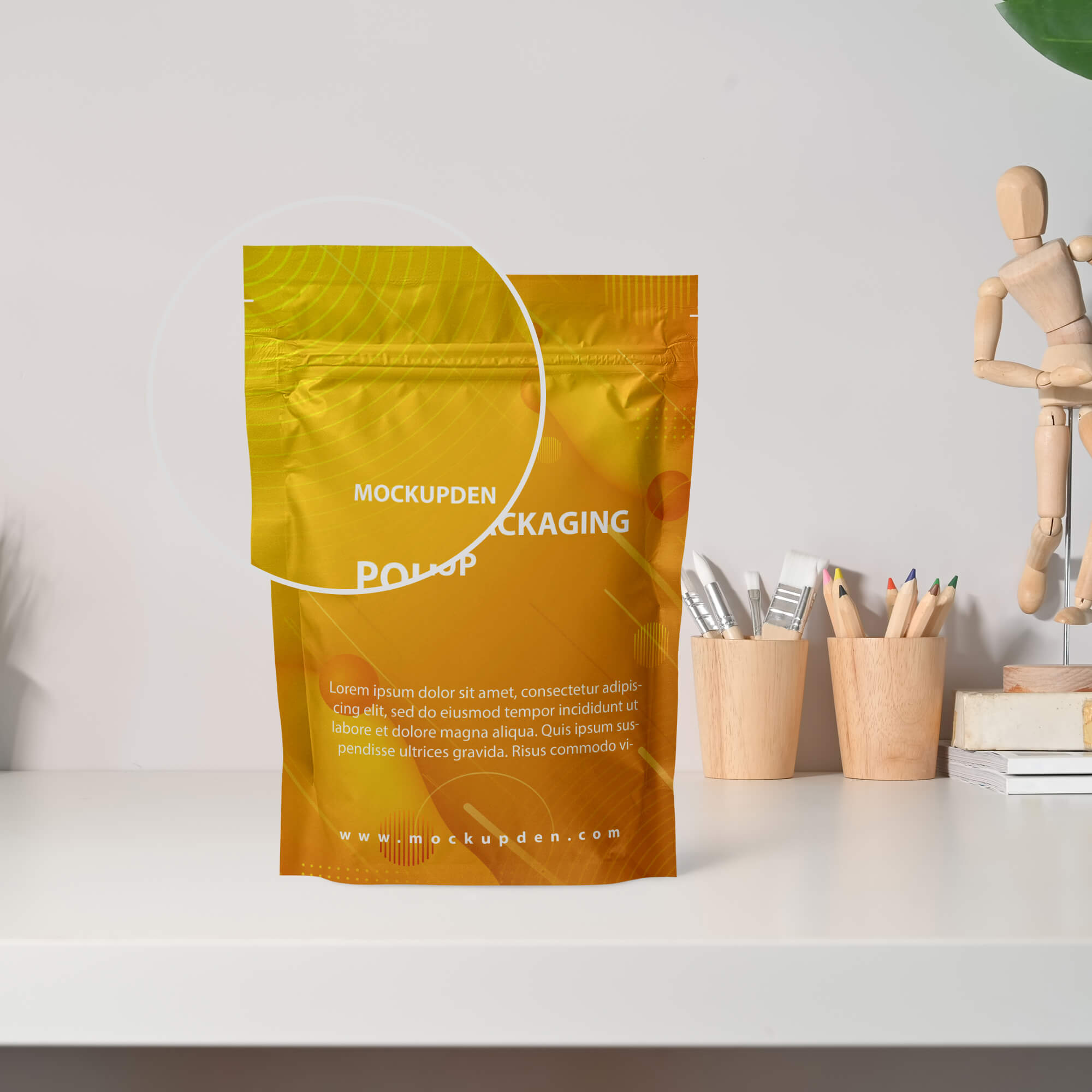 Close Up Of a Free Pouch Packaging Mockup PSD Template