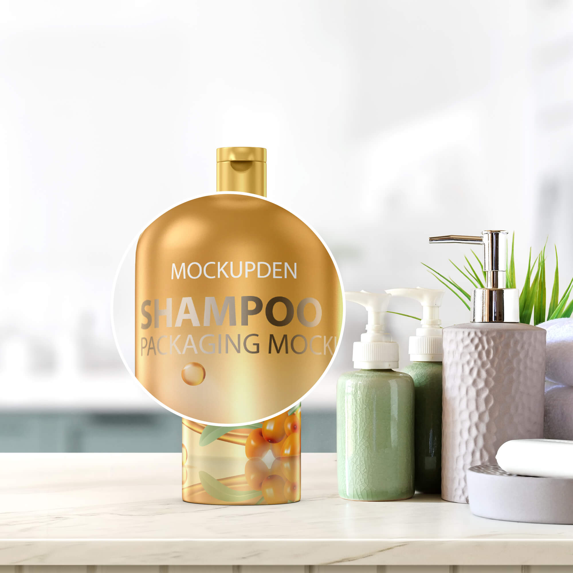 Close Up Of a Free Shampoo Packaging Mockup PSD Template