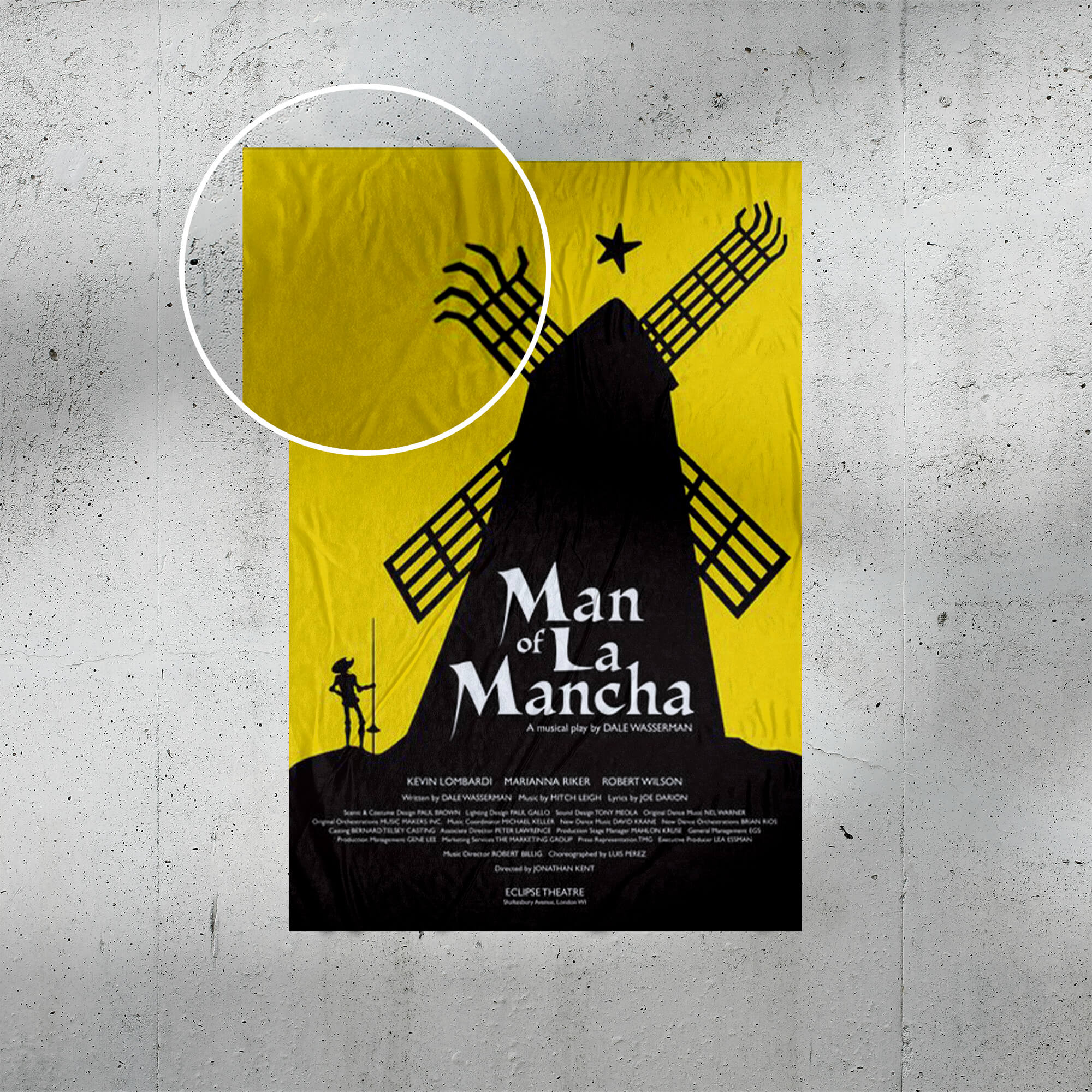 Close Up Of a Free Theater Poster Mockup PSD Template