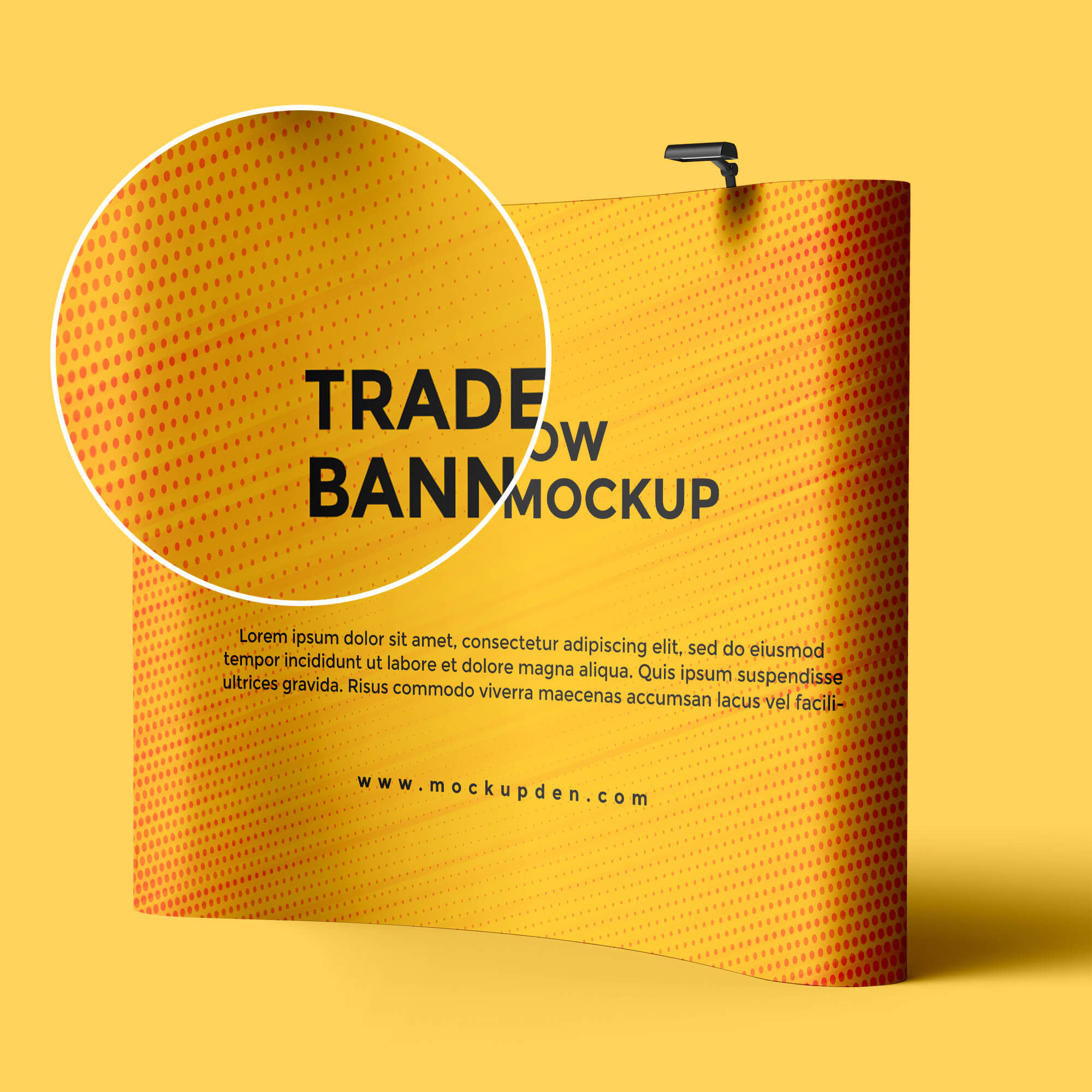 Close Up Of a Free Trade Show Banner Mockup PSD Template