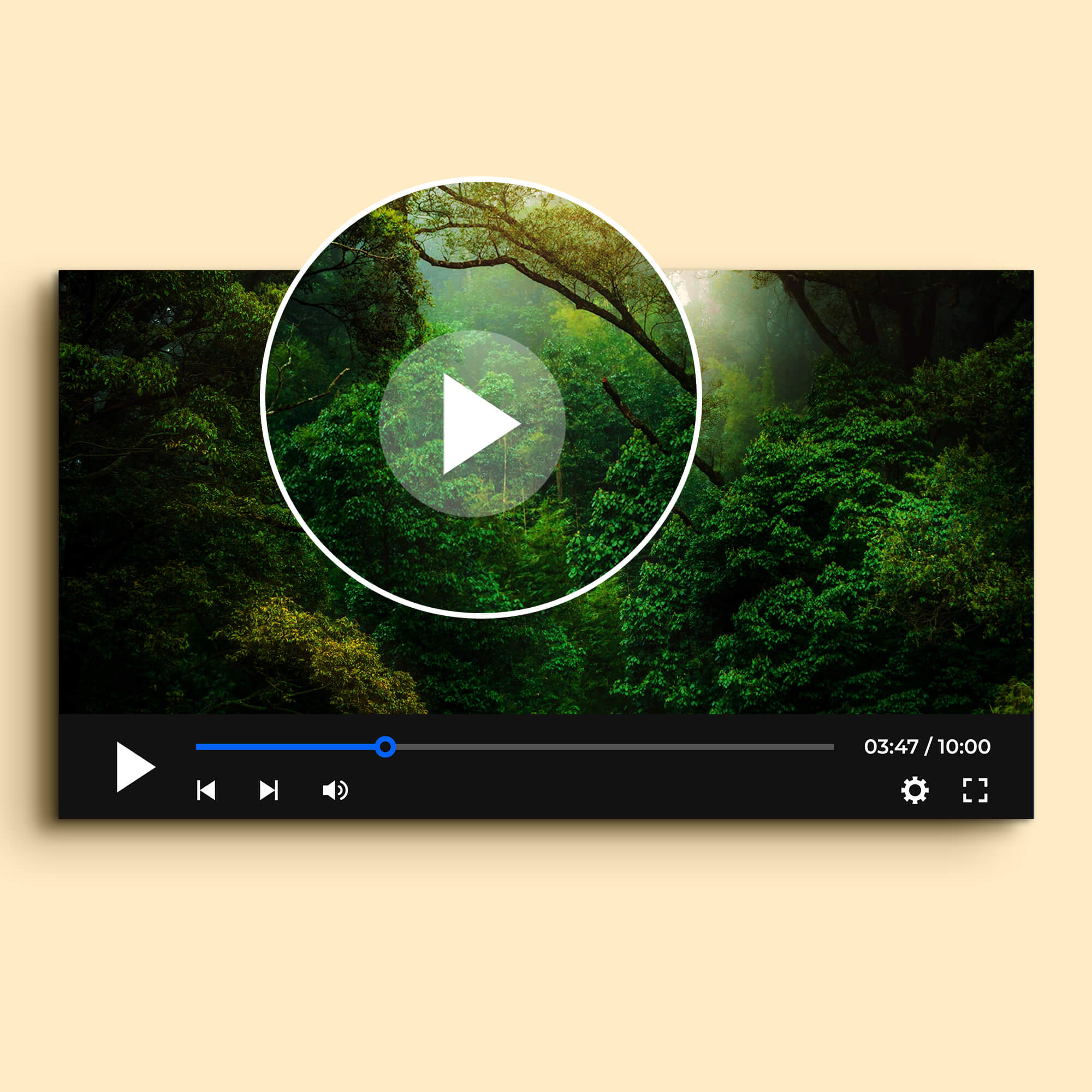 Close Up Of a Free Video Player Mockup PSD Template