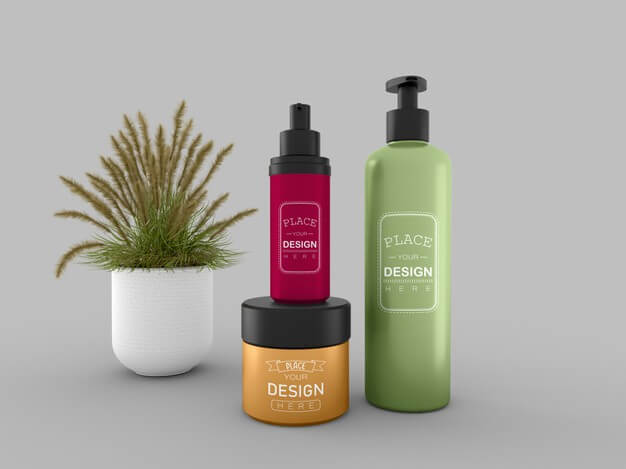 Cosmetic cream container and bottle mockup for cream, lotion, serum, skincare blank bottle packaging. Free Psd