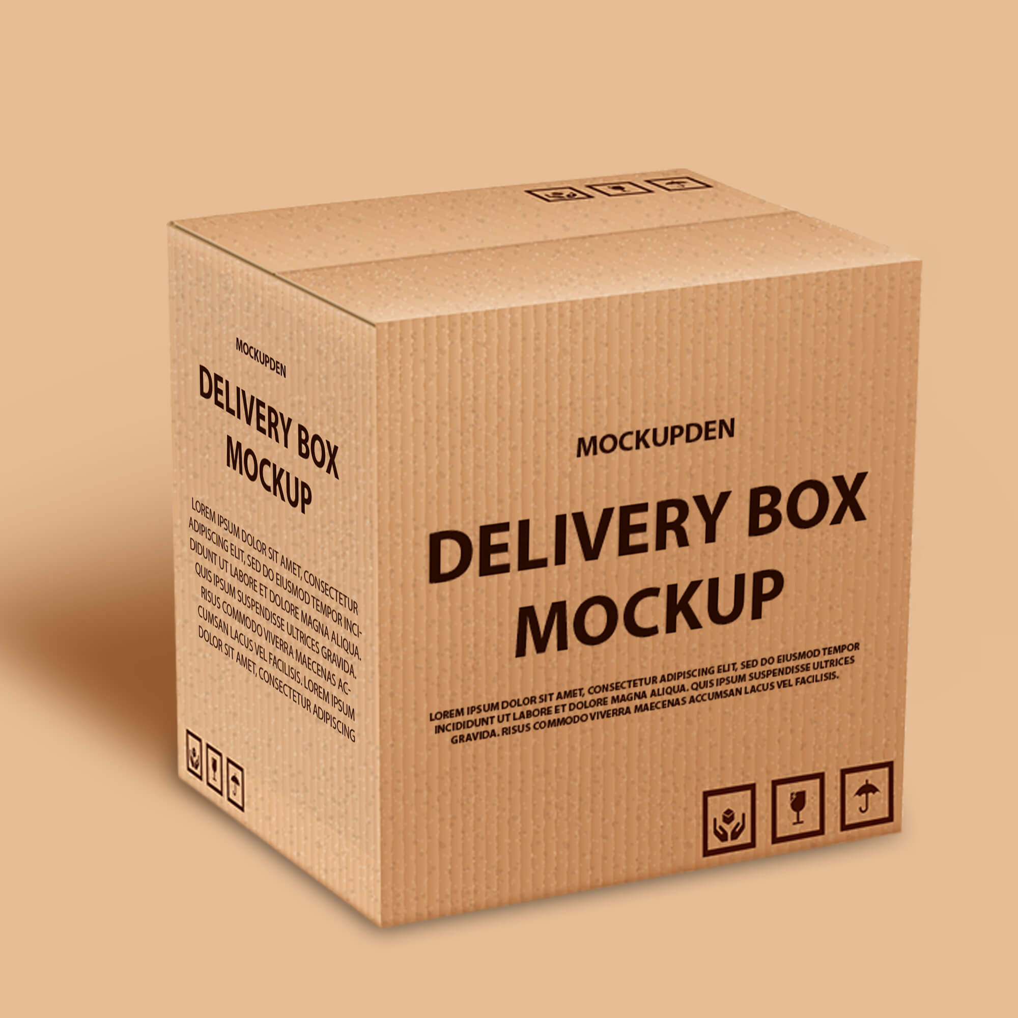 Design Free Delivery Box Mockup PSD Template