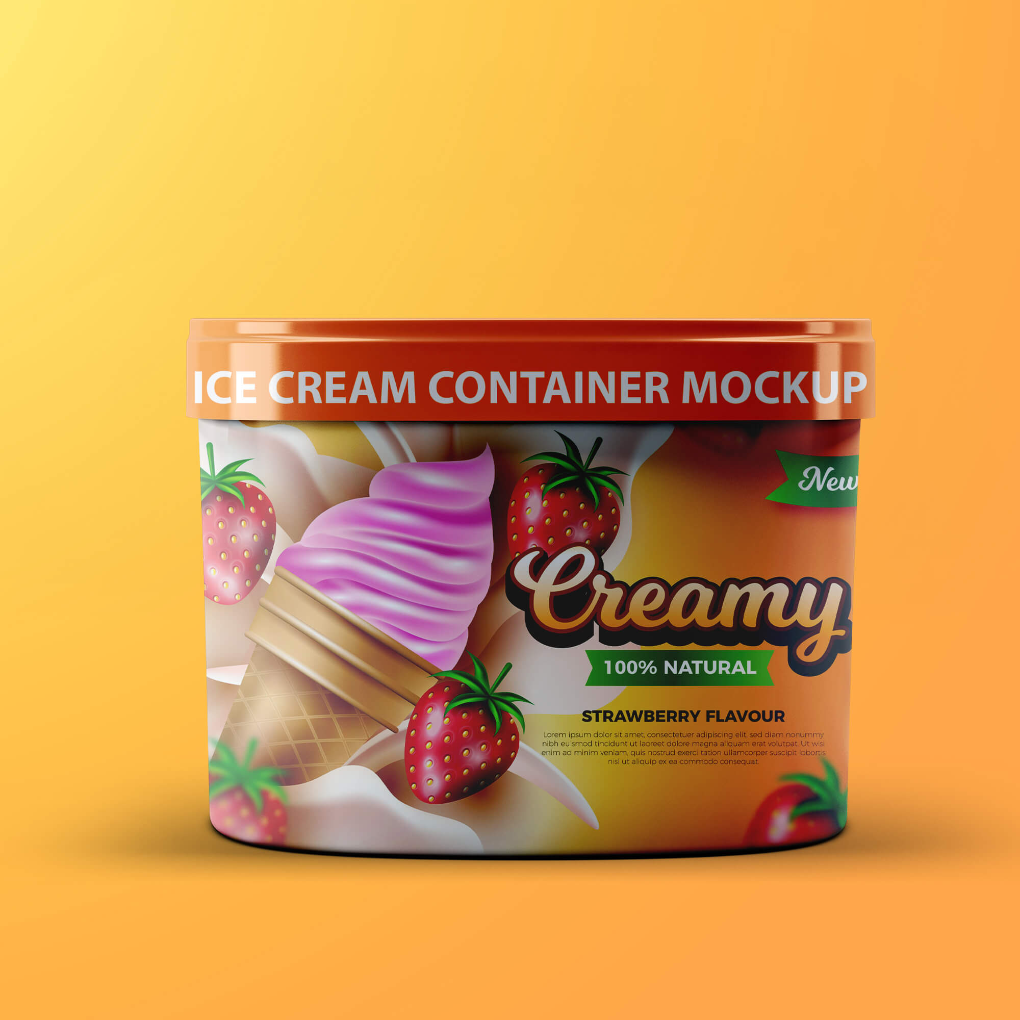 Design Free Ice Cream Container Mockup PSD Template