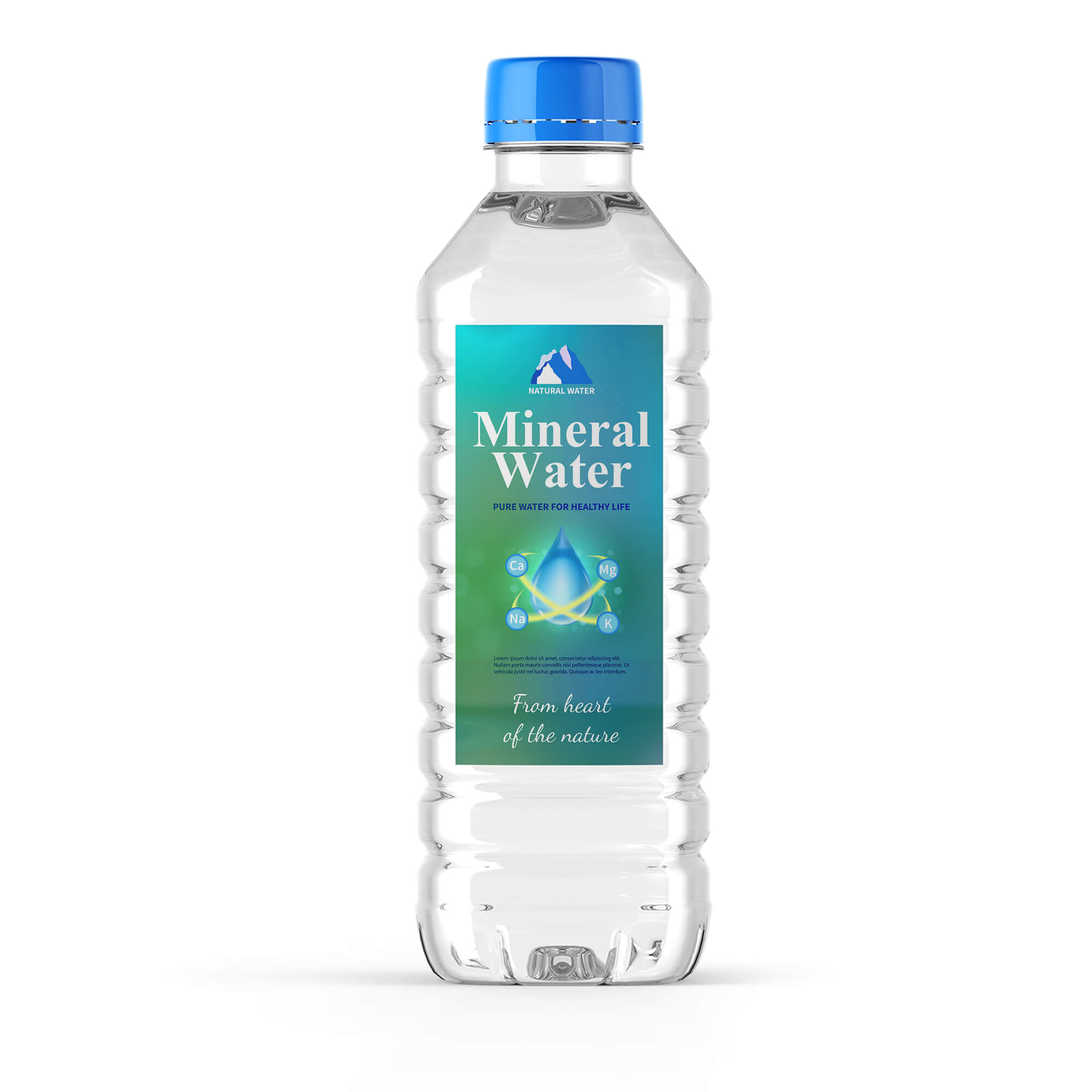 Design Free Mineral Water Bottle Mockup PSD Template