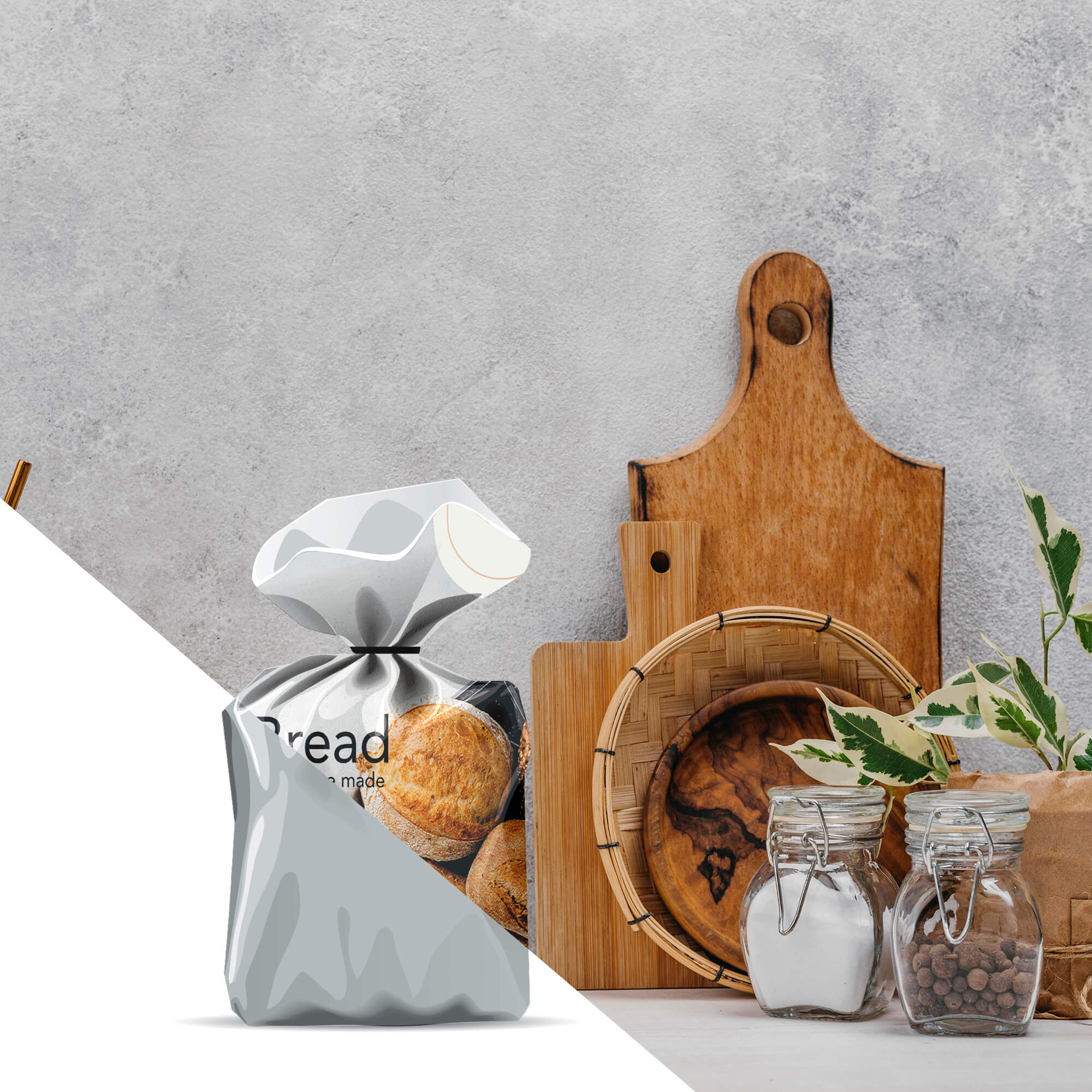 Editable Free Bread Bag Mockup PSD Template
