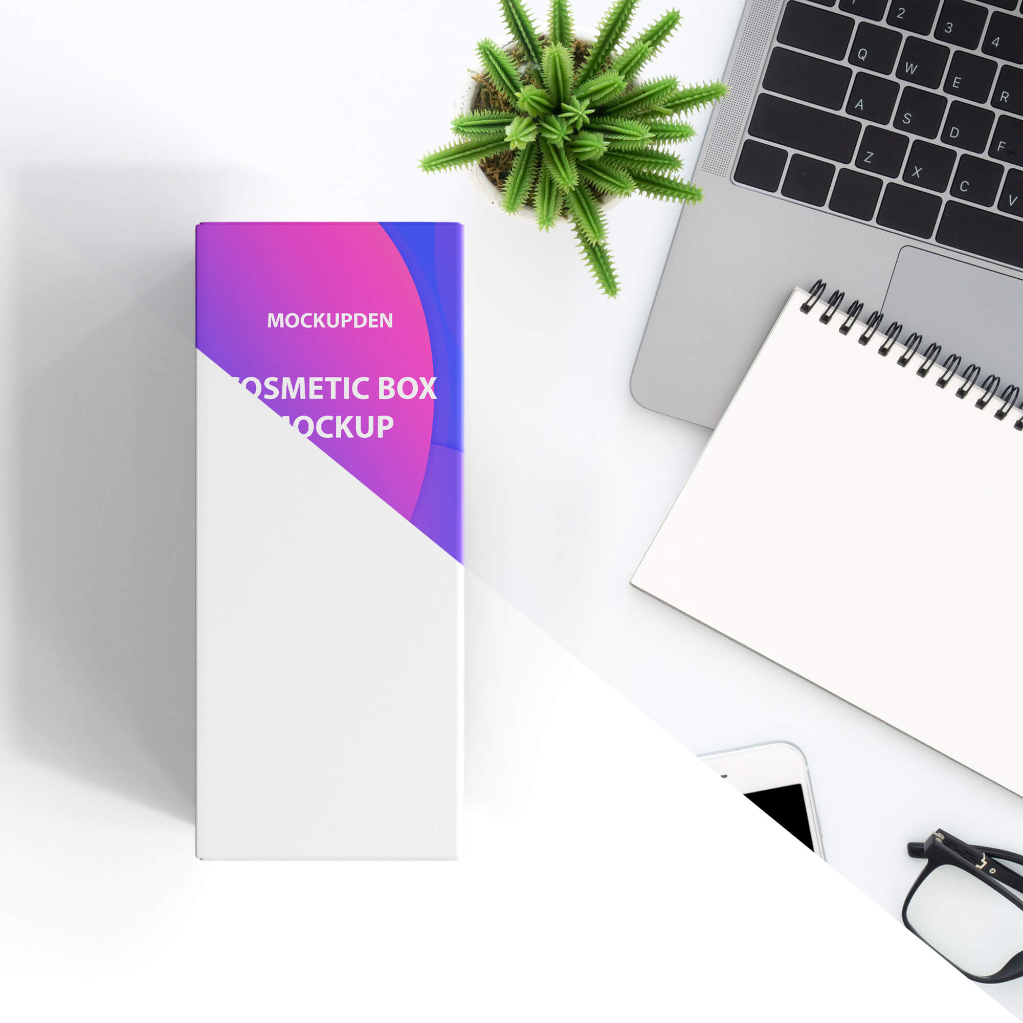 Editable Free Cosmetic Box Mockup PSD Template
