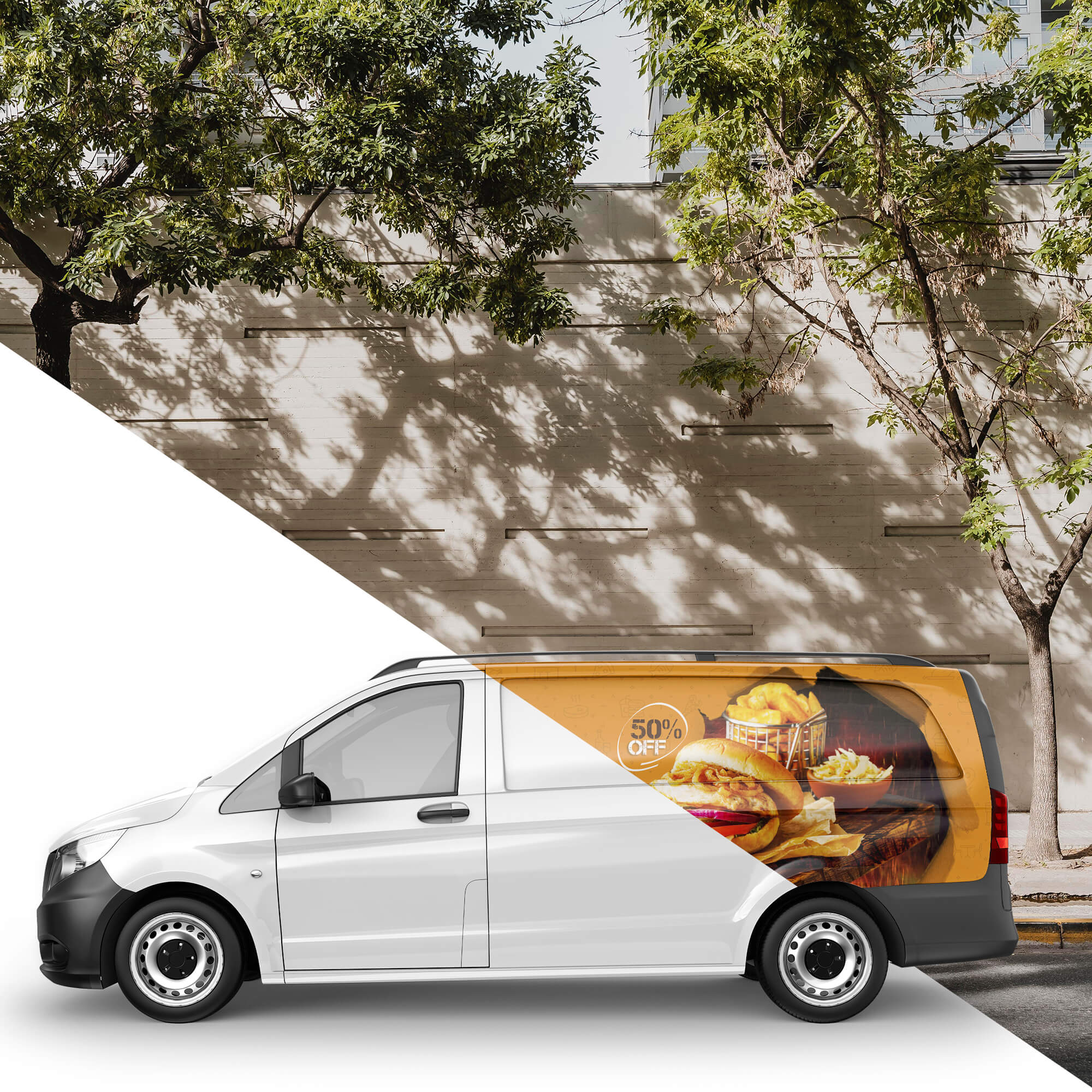 Editable Free Delivery Van Mockup PSD Template