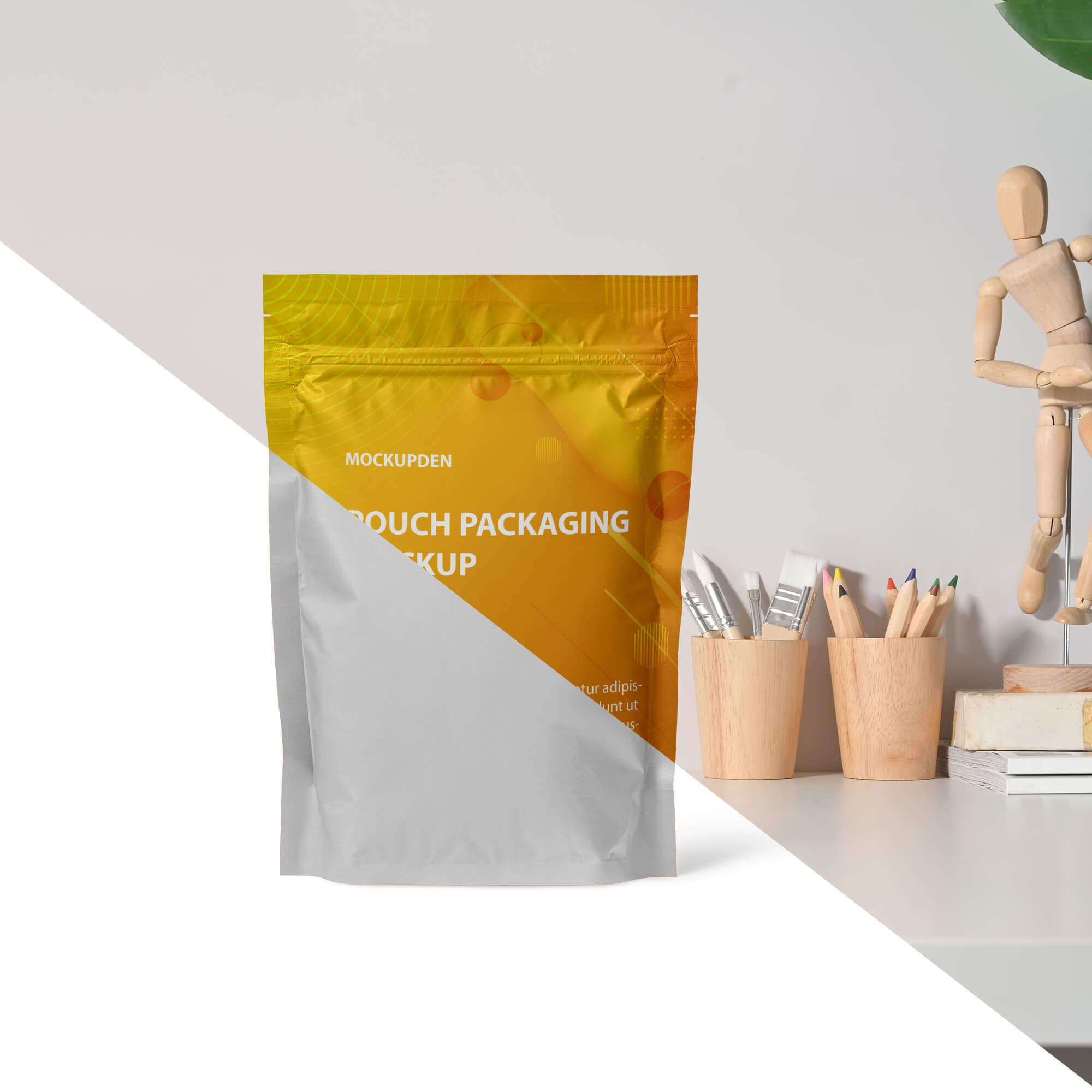 Editable Free Pouch Packaging Mockup PSD Template