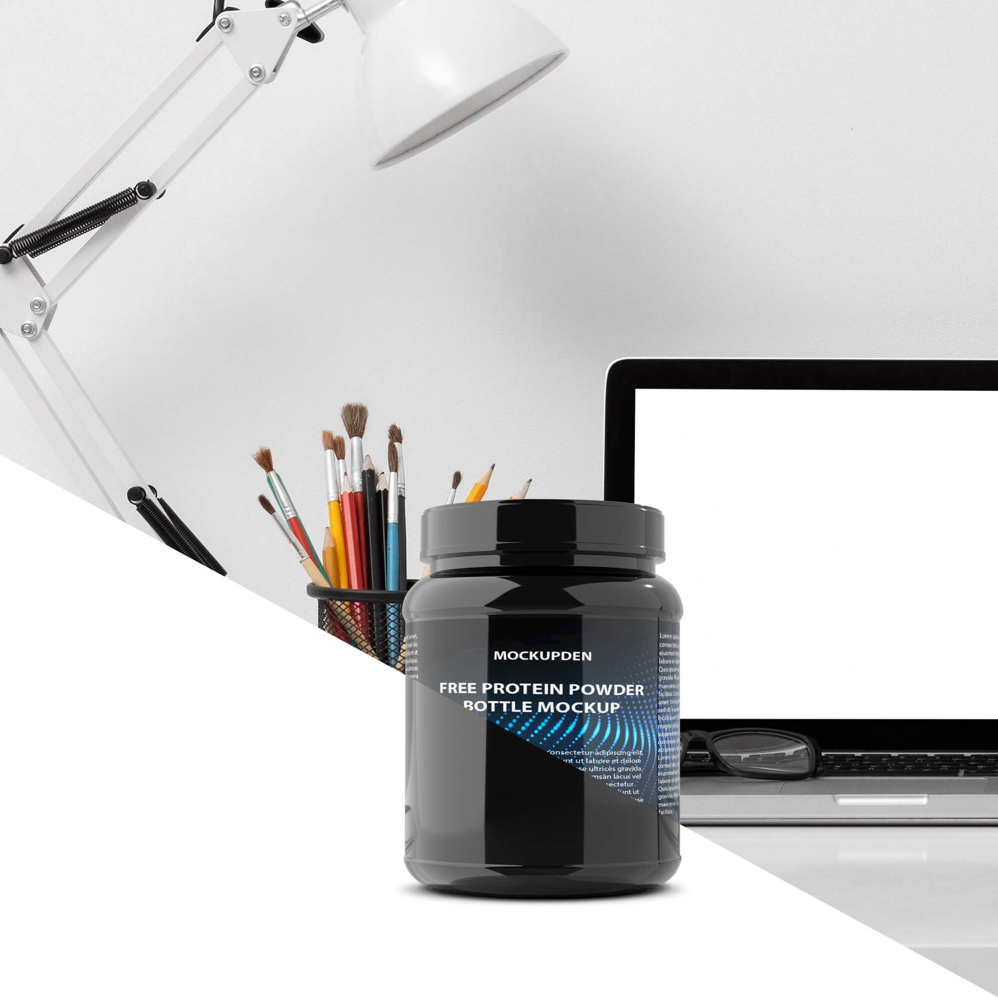 Editable Free Protein Powder Bottle Mockup PSD Template