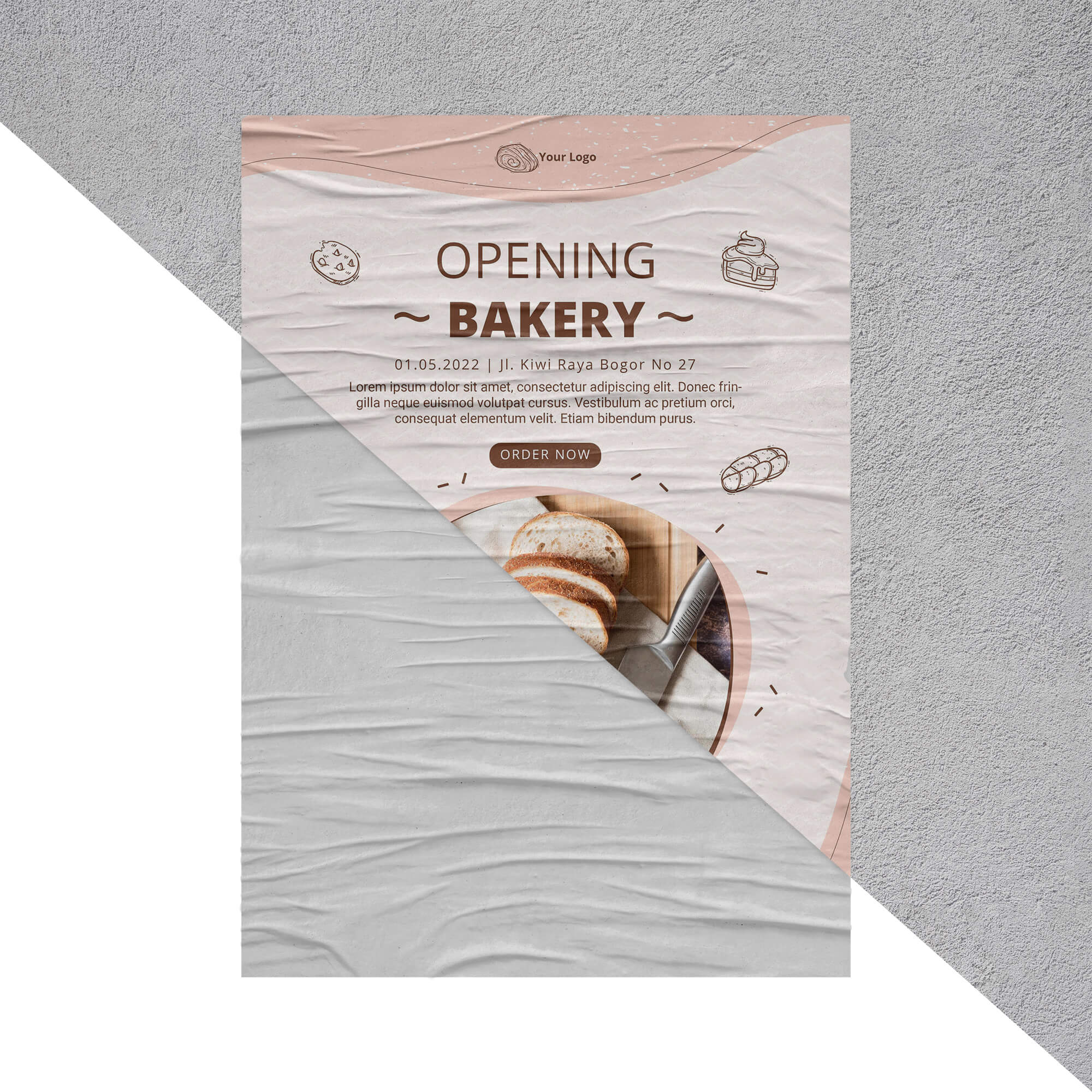 Editable Free Wrinkled Paper Mockup PSD Template