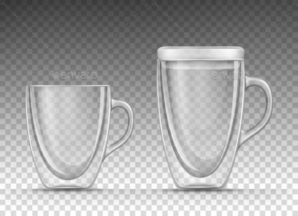 Empty Glass Cup with Double Walls