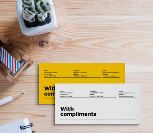 Free Compliment Slip Mockup PSD Template