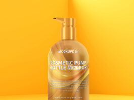 Free Cosmetic Pump Bottle Mockup PSD Template