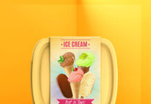 Free Ice Cream Box Mockup PSD Template
