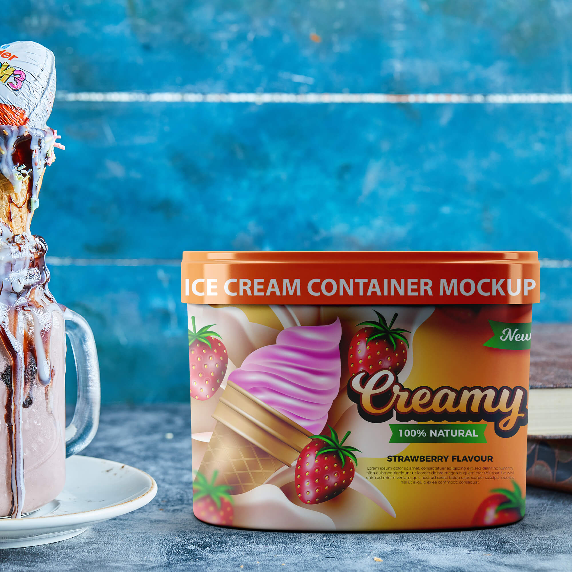 Free Ice Cream Container Mockup PSD Template