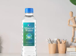 Free Mineral Water Bottle Mockup PSD Template