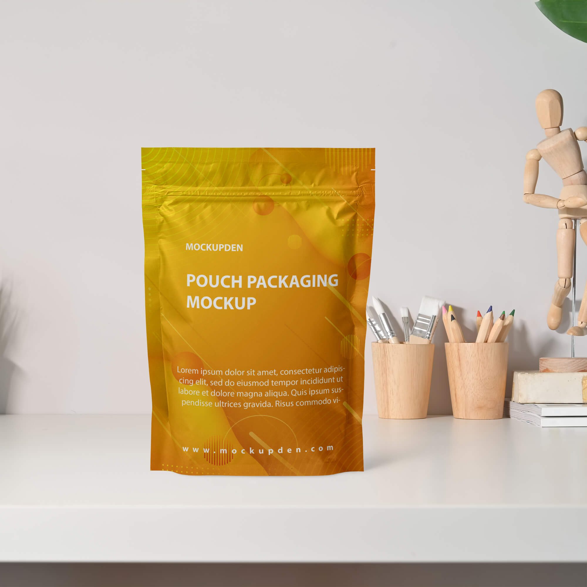 Free Pouch Packaging Mockup PSD Template