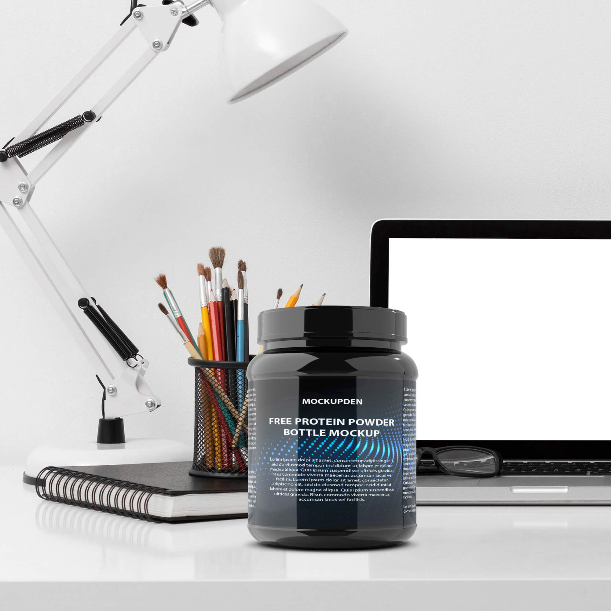 Free Protein Powder Bottle Mockup PSD Template