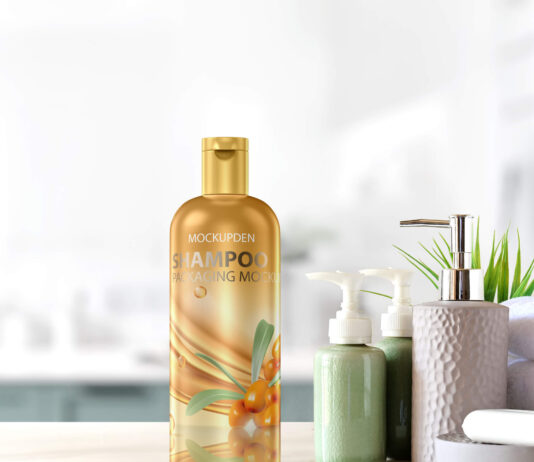 Free Shampoo Packaging Mockup PSD Template