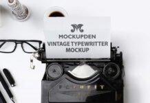Free Vintage Typewriter Mockup PSD Template