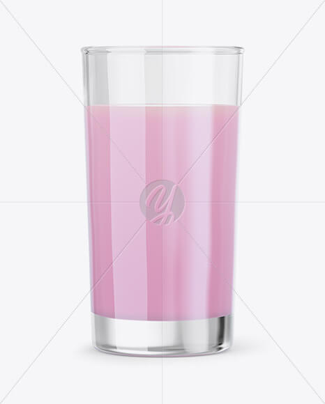 Glass With Strawberry Milkshake Mockup