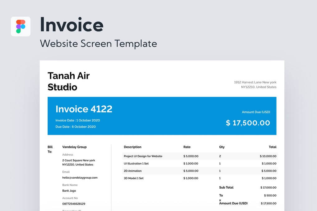 Invoice Website Screen Template 3