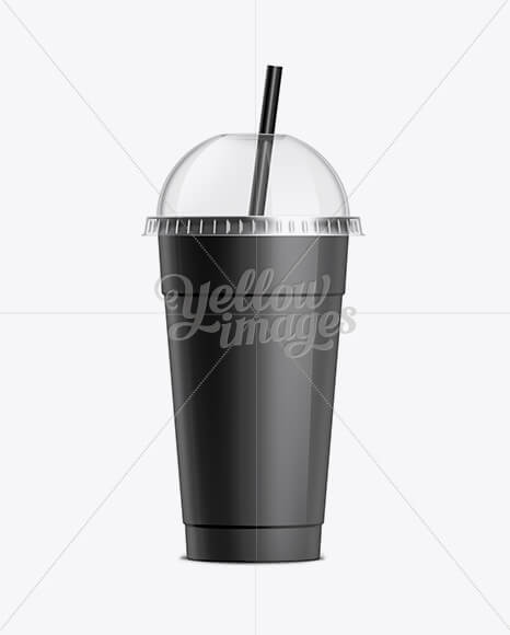 Milkshake Cup With Straw Black