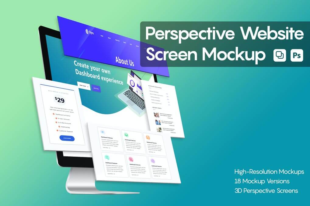 Perspective Website Screen Mockup