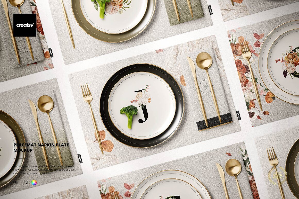 Placemat Napkin Plate Mockup