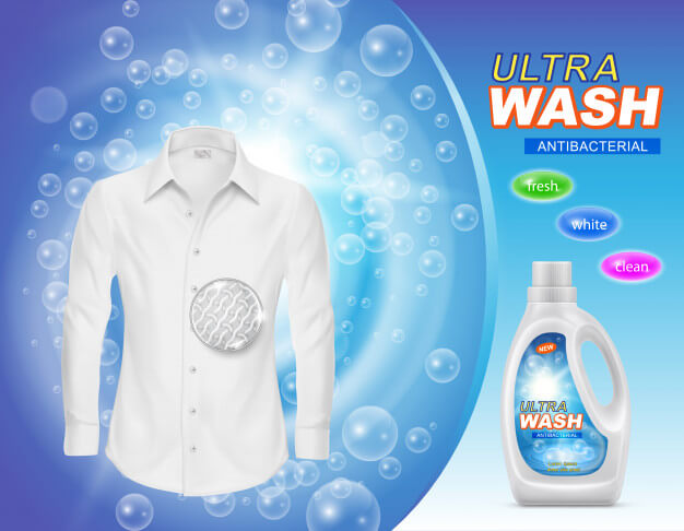 Promotion banner of liquid detergent for laundry or stain remover in plastic bottle Free Vector