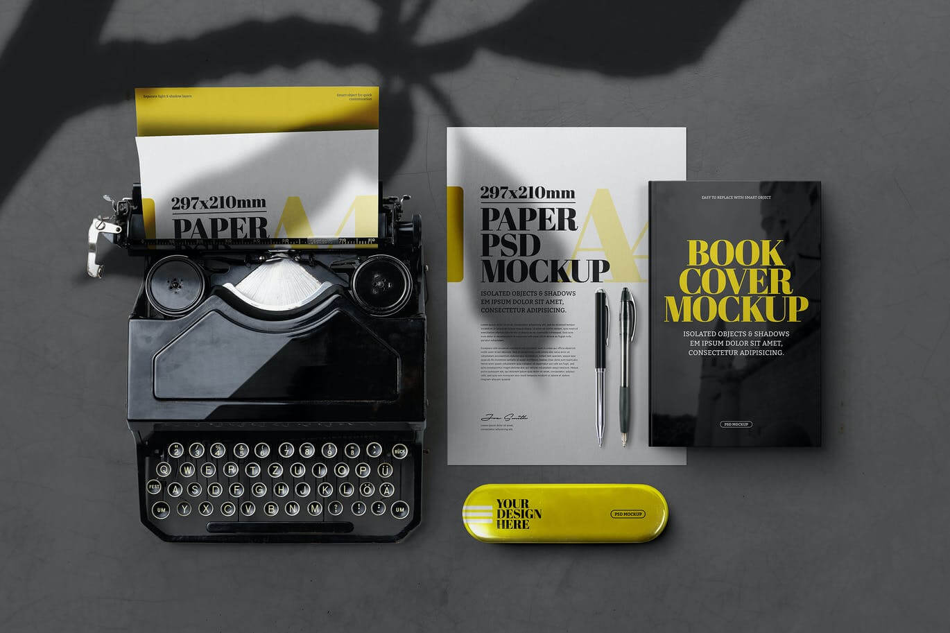 Stationery A4 Old Typewriter Book Cover Mockup