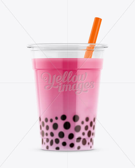 Strawberry Bubble Tea Cup Mockup