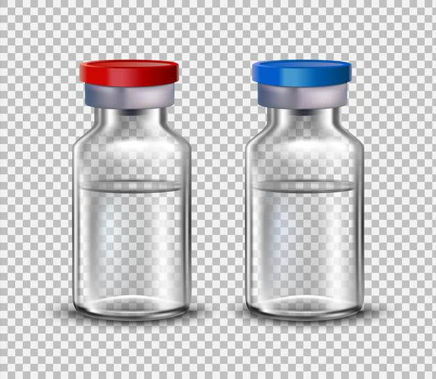 Vaccine ampoules, mock up for design of medical brochures. Premium Vector